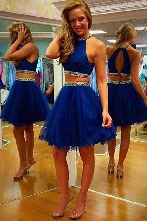 9bb50237951 2 Pieces Navy Blue Tulle Homecoming Dresses