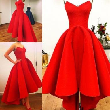 Dark Red Satin Prom Dresses High Low Sweetheart neck Women Party Dresses