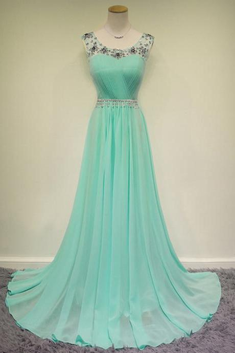 Scoop Neck Long Chiffon Prom Dresses, Floor length Crystals Women Party Dresses
