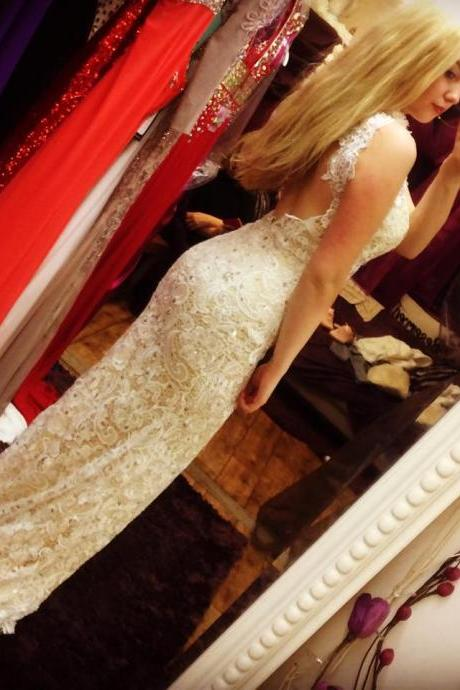 Open Back Mermaid Lace Prom Dresses