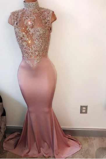 Mermaid Chiffon Gorgeous Prom Dresses High neck Women party Dresses