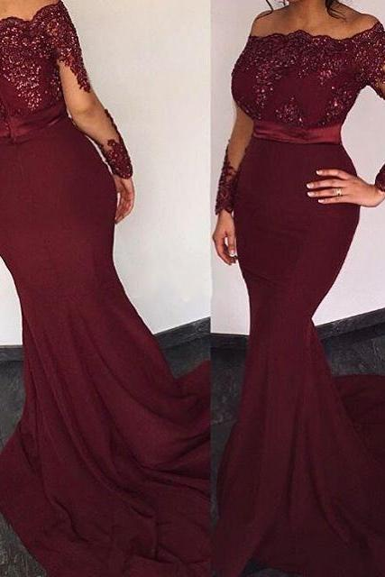 Mermaid Chiffon Prom Dresses Long Sleeves Lace Beaded Women Party Dresses