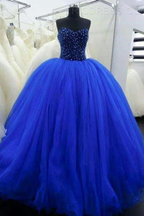 Ball Gown Blue Tulle Prom Dresses Sweetheart Crystals Women Party Dresses