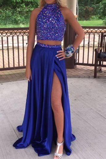 2 Piece Royal Blue Long Chiffon Prom Dresses Crystals Beaded Women Party Dresses