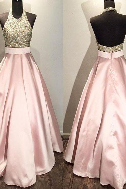 Floor Length Pink Satin Prom Dresses Crystals Women Party Dresses