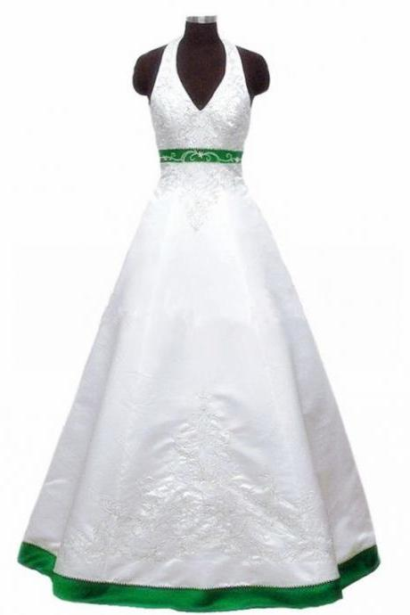 Embroidery White Satin Wedding Dresses Halter Neck Beaded Women Bridal Gowns