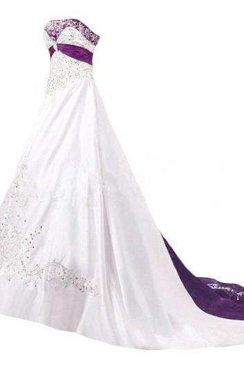 Sweetheart Long Satin Wedding Dresses Embroidery Women Party Dresses