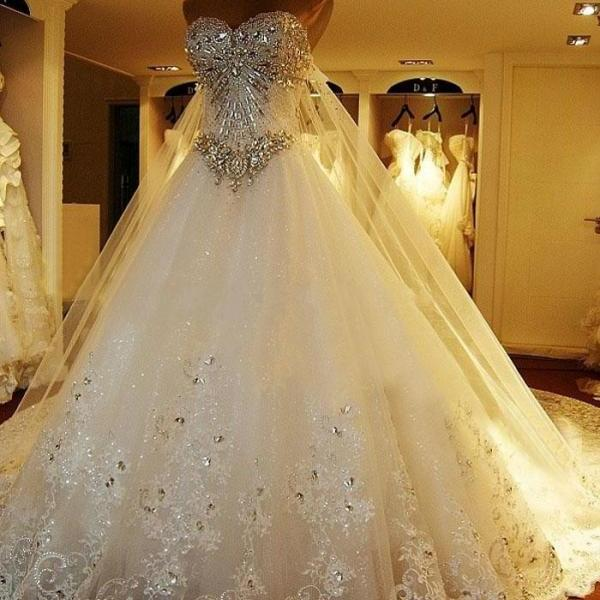 Luxurious Crystals Tulle Wedding Dresses Sweetheart Women Bridal ...