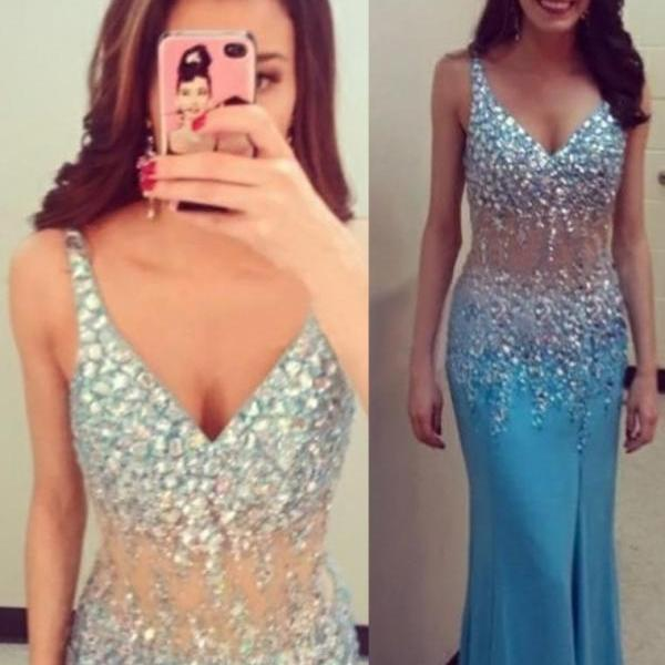 V-neck Mermaid Chiffon Prom Dresses Crystals Floor Length Women Party Dresses